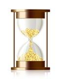 Tid är pengar - vektortimglas med mynt Royaltyfri Bild