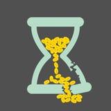 Tid är pengarbegreppet med guld- mynt i ett brutet timglas royaltyfri illustrationer