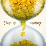 Tid är pengarbegreppet med timglaset av guld- mynt också vektor för coreldrawillustration Royaltyfria Foton
