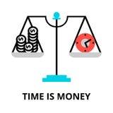 Tid är pengarsymbolen, för diagram och rengöringsdukdesign Royaltyfri Bild