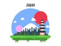 tid att löpa Japanskt landskap i en plan design också vektor för coreldrawillustration Royaltyfria Bilder