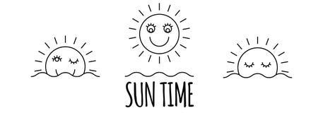 Tid av den enkla symbolsuppsättningen för dag Soluppgång sol, solsken Royaltyfria Bilder