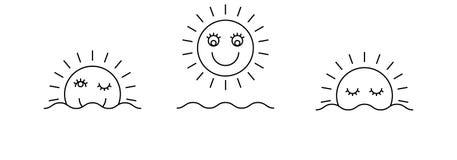Tid av den enkla symbolsuppsättningen för dag Soluppgång sol, solsken Royaltyfri Foto