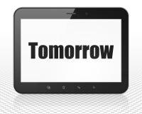 Tid begrepp: MinnestavlaPCdator med morgondag på skärm Fotografering för Bildbyråer
