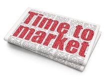 Tid begrepp: Tid till marknaden på tidningsbakgrund Royaltyfria Foton