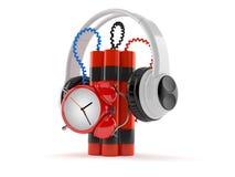 Tid bombarderar med hörlurar stock illustrationer