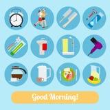 Tid för bra morgon symboler Arkivbild