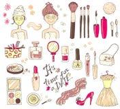 Tid för ` för uppsättning för handdarwnvektor för en datum`, Skönhetsmedelhjälpmedel och pikstav royaltyfri illustrationer