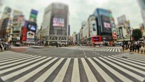 Tid för fot- trafik för stad schackningsperiod Tokyo Shibuya