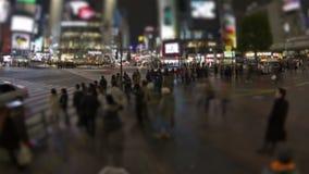 Tid för fot- trafik för stad schackningsperiod Tokyo Shibuya lager videofilmer