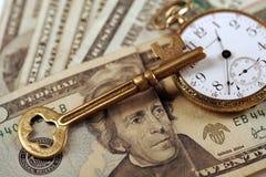 tid för framgång för pengar för affärsadministration Arkivfoton