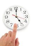 tid för klockabegreppskontroll fem Arkivfoto