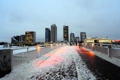 Tid för morgon för Vilnius vinterskyskrapor panorama royaltyfri fotografi