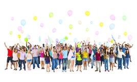 Tid för parti för mångfaldgruppstudenter begrepp Royaltyfria Bilder