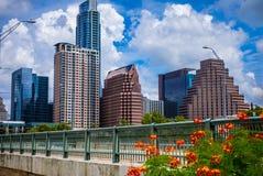 Tid för sommar för Austin texas eftermiddagperfektion Bliss Downtown Skyline Cityscape arkivfoto