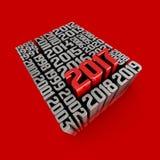 Tid flöde och 2017 Typografisk konstkort för nytt år Arkivfoto