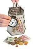 tid för begreppsbildpengar Arkivbild