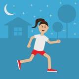 Tid för sommar för natt för kvinna för körning för rolig flicka för tecknad film rinnande gullig Hus trädkontur Stjärnor som skin Royaltyfri Fotografi