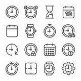 Tid gällde vektorlinjen symboler Arkivbild