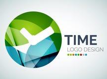 Tid klockalogodesign som göras av färgstycken stock illustrationer