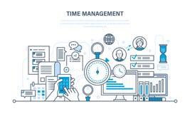 Tid ledning, planläggning, organisation av att arbeta, arbetsprocesskontroll royaltyfri illustrationer