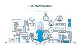 Tid ledning, workflow, organisation, kontroll av resultatoperationerna, vektor illustrationer