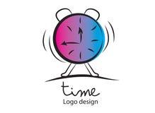 Tid logo Larm klockasymbol, vektorillustration Plan design, reng?ringsduksymbol vektor illustrationer