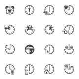 Tid med den dagliga rutinmässiga symbolsuppsättningen Royaltyfri Fotografi
