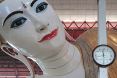 Tid och evighet, Buddha och klockan Royaltyfri Bild