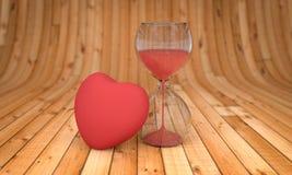 Tid och förälskelse-, timglas- och för hjärta 3D tolkning Arkivfoto