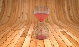 Tid och förälskelse-, timglas- och för hjärta 3D tolkning Arkivbilder
