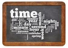 Tid och kalenderordmoln Arkivfoto