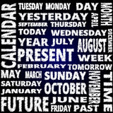 Tid och kalenderordmolnet klottrar stiltext på blå bakgrund Arkivfoto