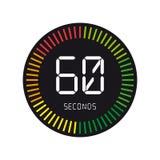 Tid och klocka, 60 sekunder - vektorillustration - som isoleras på W stock illustrationer