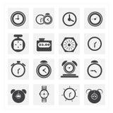 Tid och klockasymbolsuppsättningar Royaltyfria Bilder