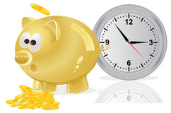 Tid pengar, begrepp, spargris som är guld- Arkivfoto