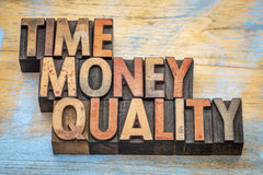 Tid pengar, kvalitet Arkivbilder