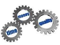 Tid pengar, kvalitet i silvergrå färgkugghjul Royaltyfri Bild