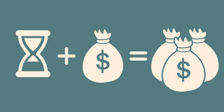 Tid + pengar = mer pengar tecken för vinst för räknemaskinbegreppsdollar royaltyfri illustrationer