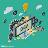 Tid är pengar, tidledning, begrepp för vektor för affärsplanläggning Arkivbild