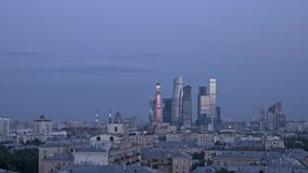 Tid schackningsperiod Affärsmitt i Moskva, så kallad Moskva-stad skyskrapor Bostads- och livsstilklunga för affär, lager videofilmer