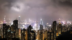 Tid schackningsperiod av nattsikten Hong Kong från Victoria Peak gem 4k stock video