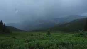 Tid schackningsperiod av rullningsmoln och regn i vildmarken arkivfilmer