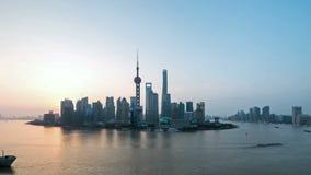 Tid schackningsperiod av shanghai i soluppgång lager videofilmer