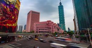 Tid schackningsperiod av Taipei cityscape på skymning i den Taiwan staden arkivfilmer