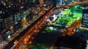 Tid schackningsperiod av trafik och stadsnattsikten p? Yokohama, Japan stock video