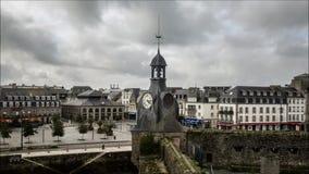 Tid schackningsperiod Gammal stärkt fransk hamnstad stock video