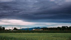 Tid schackningsperiod, Timelapse, Time-schackningsperiod lantligt landskap av vetefält och vingård i söderna av Spanien 100f 2 8  lager videofilmer