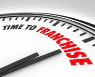 Tid som beviljar franchise ny start för märke för licens för affärstillfälle Arkivbild
