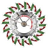 Tid som lär italienare - metalliskt kugghjul royaltyfri illustrationer